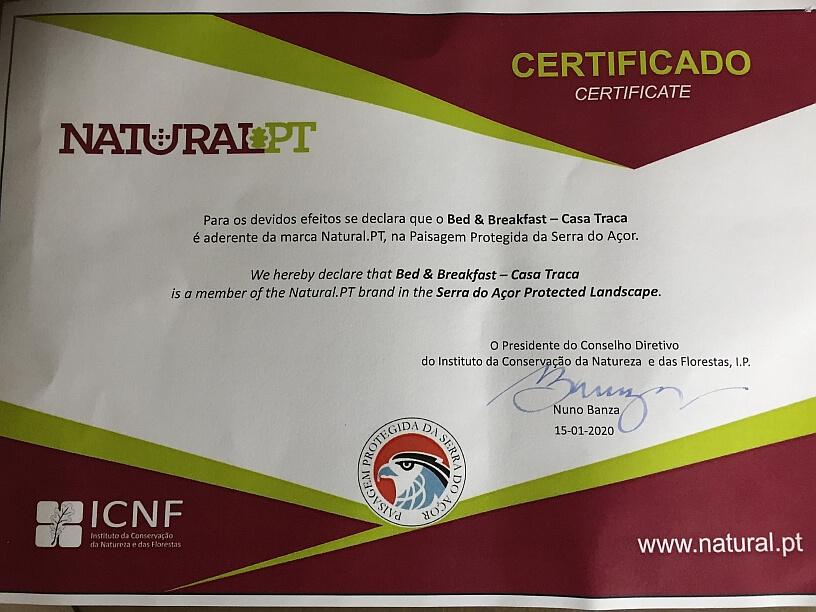 Certificaat Portugese natuurhuisje, Natural PT